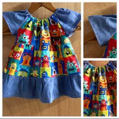 A cute dress for you little monster!  Size 6 months. Light weight twill and featherweight denim make this dress perfect for every season!!