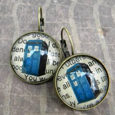 Doctor Who Earrings  TARDIS    Doctor WHO  The Angels by Msemrick, $18.00