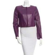 Pre-owned Akris Cropped Leather Jacket ($275) ❤ liked on Polyvore featuring outerwear, jackets, purple, 100 leather jacket, cropped leather jacket, purple leather jacket, genuine leather jacket and akris jacket