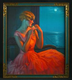 FRAMED VINTAGE 1935 GENE PRESSLER MOONLIGHT & YOU GLAMOUR GIRL PIN-UP PRINT RARE