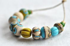 love the variety in this set and the mustard/aqua combo. by @pinocean on #etsy