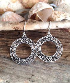 Boho Dangle Earrings/ Silver Hoop Earrings/ by AVBohoJewellery