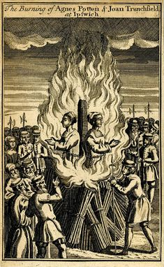 Burning  of two women. etching. England c.1710-67. BM | Two protestant women chained to a stake in a burning pyre, surrounded by onlookers and guards, including a man in the right foreground, pointing at them; in a border; plate from a set; one quarter of a larger sheet.