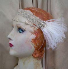 sophie 1920s style beaded net lace flapper headband by owllamode