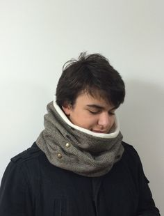 Herringbone Cowl Soft Wool Cowl Two Sided Ivory Polar Wool Cowl Snap Decorated Unisex Neckwarmer Soft Winter Accessory Designscope by designscope (29.50 USD)