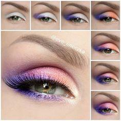 Maquillaje ojos en brillantes melocotón, azulón y rosa.