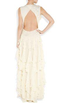 Style No.0sp00127,Fashionable A-line dropped waist chiffon over satin evening dress,US$442.00