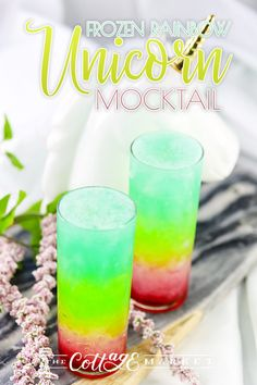 Frozen Rainbow Unicorn Mocktail – The Cottage Market – Mocktails 2020 Kid Drinks, Fancy Drinks, Frozen Drinks, Summer Drinks Kids, Summer Fun, Mocktails For Kids, Cool Drinks, Summer Drink Recipes, Mocktail Drinks
