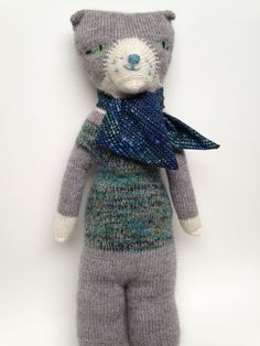 Sweet Kitty, a hand knit cat doll, 24 inches tall, OOAK, blue and green kitty, gift idea for child