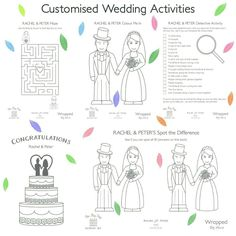 All my Big Day Activity Sets can now be customised, including the fun, wedding-themed activity sheets 👌❤