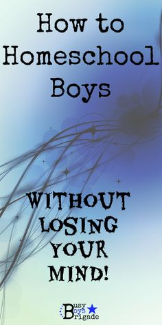 How to Homeschool Boys (Without Losing Your Mind!) - 10 ways to approach homeschooling boys-and keep your sanity!