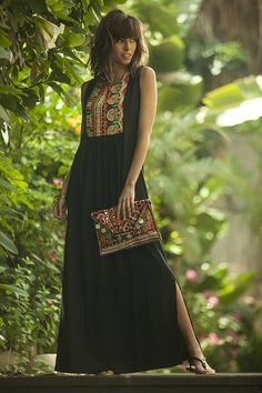 Tribal Maxi Summer Dress, Ethnic Long Caftan Dress, Black Ethnic Indian Embroidery Dress, Black Kaftan, Bohemian Rayon Flattering OOAK Dress