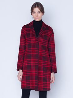 Coat in wool silk plaid with SG embroidery, featuring a lapel collar and pockets with no closure Silk Taffeta, Silk Crepe, Plaid Coat, Parka, Stylists, Embroidery, Wool, Jackets, Closure