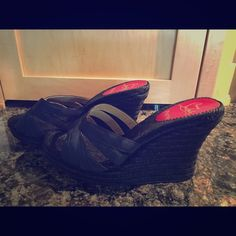 Louboutins black espadrilles sandal Black sandals. Espadrilles wedge. Great condition. They are a euro 41. However they fit a 10 US.  this brand tends to run smaller. I love them so much but I broke my foot and they don't fit. Too narrow☹️ dust bag is included. No box. Christian Louboutin Shoes Espadrilles