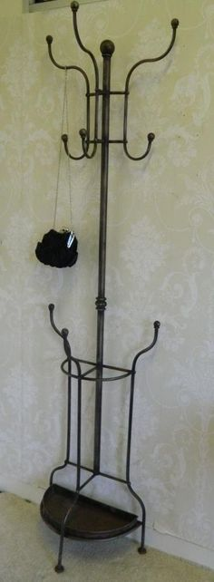 Antique Brown Coat Stand Ornate Hat Rack Shabby Vintage Chic Storage Hallway