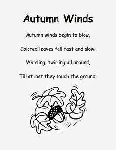 Fall Poem for Kindergarten Poetry Notebooks