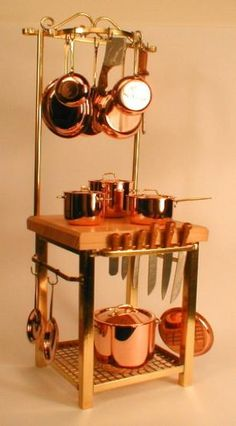 J. Getzan Dollhouse Miniatures Kitchen Islands Copper Wash Boilers