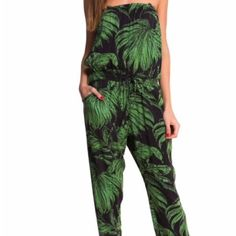 """Desigual Aloha Palm Tree Print Jumpsuit Desigual Pants """"Aloha"""" – stunning overall trousers in Hawaiian style from """"Say Something Nice"""" collection. Adjustable straps, pockets. Elasticated top, waistline (with belt) and hem.   Washable. Viscose. Desigual Pants Jumpsuits & Rompers"""