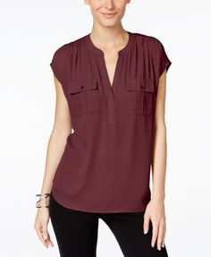 I have this wardrobe staple in several colors. Reminds me of the Basinger Shoulder Pleat Blouse, which I love!    INC International Concepts Mixed-Media Utility Shirt, Only at Macy's