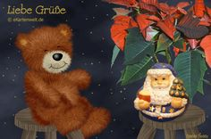 Teddy Bear, Toys, Winter, Cards, Painting, Animals, Advent Season, Christmas Time, Santa Clause