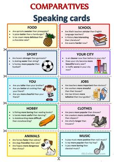 A set of cards to practice the comparative form of adjectives in questions and short answers for your students. English Teaching Materials, Learning English For Kids, Teaching English Grammar, English Worksheets For Kids, English Lessons For Kids, English Activities, English Vocabulary Words, Learn English Words, English Writing