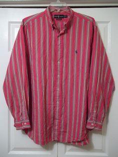 RALPH LAUREN MENS Long Sleeve Button Down CLASSIC FIT -18/XXL- STRIPES - Cotton #RalphLauren