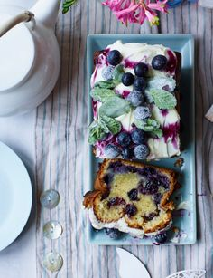 White chocolate and blueberry loaf cake with cheesecake frosting
