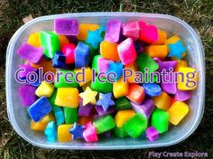 Painting with Colored Ice Cubes from The Children's Art Group