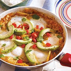 Chilaquiles and Eggs | Cooking Light #myplate #protein #dairy #fruit #veggies