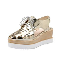 Latasa Womens Fashion Summer Spring Hollow-Out Square-Toe Lace-Up Platform Wedge Oxford Sandals -- You can get additional details, click the image : Lace up sandals