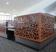 Beautiful laser-cut office cubicles by Urban Screen Designs