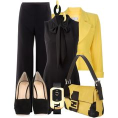 """Black & Yellow"" by gangdise on Polyvore"