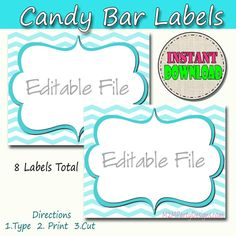 Candy Buffet Labels  Chevron Blue Print by M2MPartyDesigns on Etsy