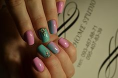 Cute fashion nails, Extraordinary nails, Festive nails, Nails with stones, Pale pink nails, Two color nails, Unusual nails