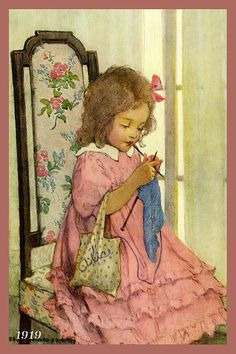 Quilt Block of 1919 painting of Girl Knitting by Jessie Willcox Smith printed on cotton. Ready to sew.  Single 4x6 block $4.95. Set of 4 blocks with pattern $17.95.