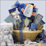 Send the proud new parents this fully stocked Congratulations On Your Baby Boy gift basket.  We've loaded it with lots of neat things the new mom and dad will need