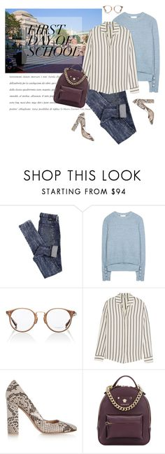 """""""Campus"""" by tamara-40 ❤ liked on Polyvore featuring Columbia, Dr. Denim, 3.1 Phillip Lim, Oliver Peoples, Frame, Gianvito Rossi, Versace, BackToSchool, school and campus"""