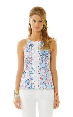 Annabelle is a dressy halter top that you'll find yourself wearing over and over again this season. This printed halter top with lace details will look great with white denim or a skirt - very versatile.