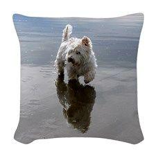 Beachcombing Westie 3 Woven Throw Pillow #denisebruchman #beachcombingwestie #westies #westie
