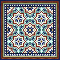 Miniature needlepoint rug kit for dollhouse, #144 Seville -Spanish tile design