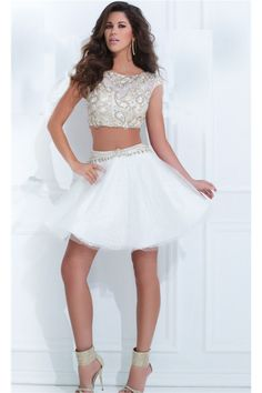 Fashion Two Piece White Tulle Beaded Short Tutu Prom Dress