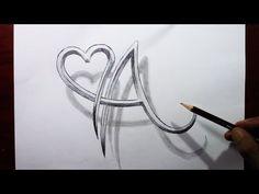 حرف A مدمج مع شكل قلب خدع رسم 3d A Letter With A Heart Shape Trick Drawing Youtube Arabic Calligraphy Calligraphy