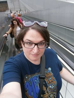 Riding up the very long moving walkway at the BnF