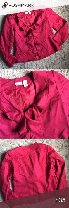 🎉HP 8/9🎉 Magenta micro suede jacket Ruffle front micro suede like jacket with 2 hidden hook and eye closures Kim Rogers Jackets & Coats Blazers