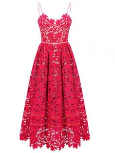 Red Spaghetti Strap Crochet Lace Midi Dress | Choies