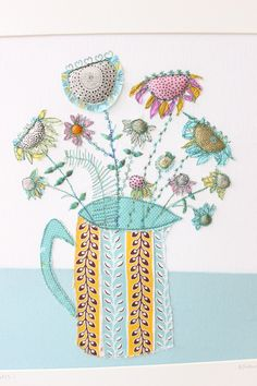 Blue table and jug made by Bev Holmes-Wright @ www.stitchingforthesoul.co.uk