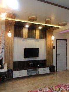 Living rooms modern living room by ajinkyainteriors modern Lcd Unit Design, Lcd Wall Design, Modern Tv Unit Designs, Tv Unit Interior Design, Tv Unit Furniture Design, Modern Tv Wall Units, House Ceiling Design, Living Room Tv Unit Designs, Ceiling Design Living Room