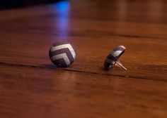 Large Silver Chevron Fabric Covered Button by MightyMallory