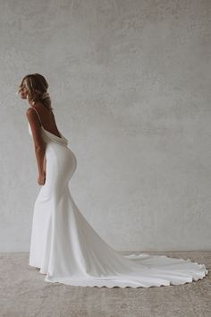 Archie is a sexy and sophisticated combination of both modern and classic. Made with seamless soft, double french crepe, her figure hugging design is created to completely celebrate every curve and turn of the body while draping dramatically with her signature cowl back. #felicitysbridalnz #weddingnz #bridenz #madewithlovebridal #mwlarchie French Crepes, Draping, Archie, Cowl, Bride, Wedding Dresses, Celebrities, Classic, Sexy