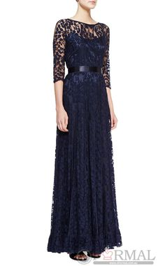 Hot Blue Lace Long Formal Dress with Sleeves (JTAU-1040)